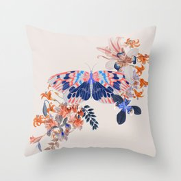 Exotic Collage Butterfly Jungle Throw Pillow