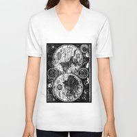 vintage map V-neck T-shirts featuring vintage map by ClicheZero