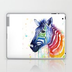 Zebra Watercolor Rainbow Animal Painting Ode to Fruit Stripes Laptop & iPad Skin