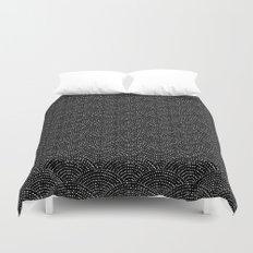 Ink scales - White on black Duvet Cover