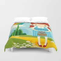 dorothy Duvet Covers featuring Dorothy Wizard of Oz by Steph Dillon