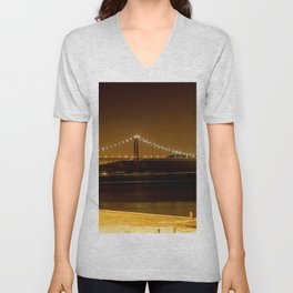 Lisbon bridge light Unisex V-Neck