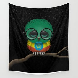Baby Owl with Glasses and Ethiopian Flag Wall Tapestry