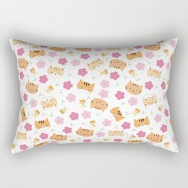 Moew play with floral and plants Rectangular Pillow