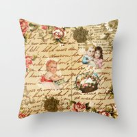 shabby chic Throw Pillows featuring Shabby Chic by Diego Tirigall