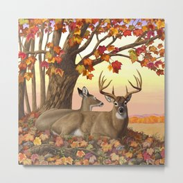 Hilltop Retreat Whitetail Deer Painting Metal Print
