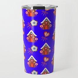 gingerbread houses, colorful sweet lollipops. Retro vintage cute Christmas blue pattern Travel Mug