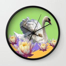 White Swan & Water Lilies Green Art Patterns Wall Clock