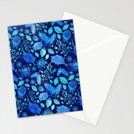 Blue Australian Native Floral Pattern Stationery Cards
