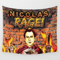 nicolas cage Wall Tapestries featuring Nicolas Rage by Butt Ugly Co