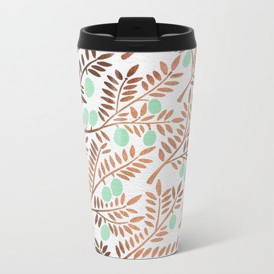 Olive Branches – Rose Gold & Mint Metal Travel Mug