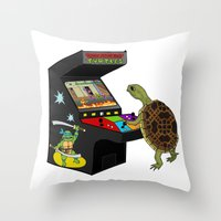ninja turtle Throw Pillows featuring Arcade Ninja Turtle by Michowl