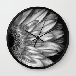 Black And White Print of Gerber Daisy Wall Clock