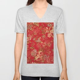 Country chic bright red pink vintage white floral Unisex V-Neck