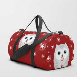 Christmas owl on red Duffle Bag