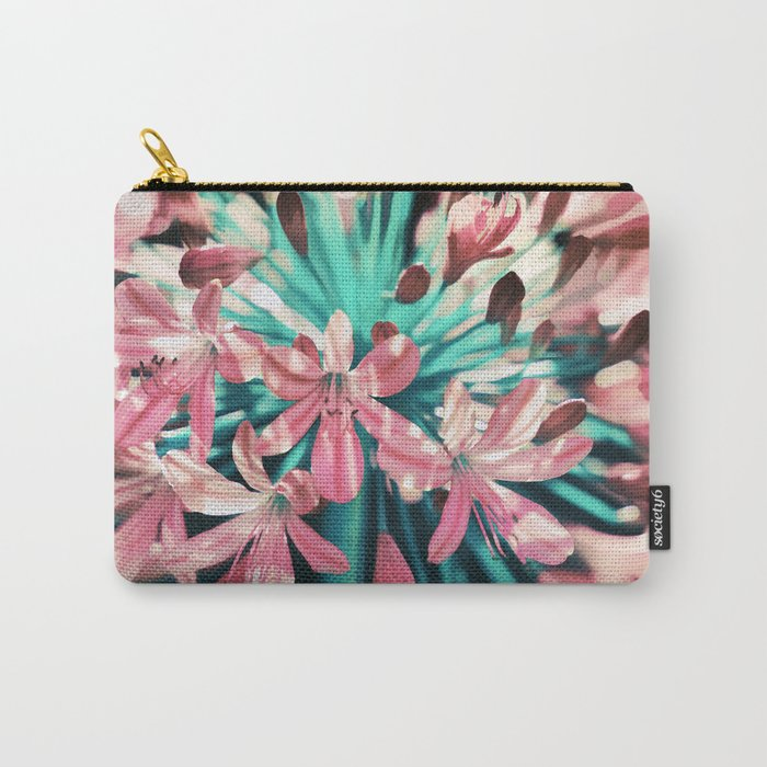 Sunny Agapanthus Flower in Pink & Teal Carry-All Pouch