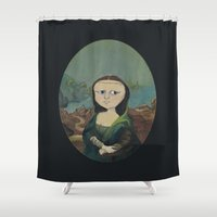 mona lisa Shower Curtains featuring Mona Lisa by Chris Talbot-Heindl