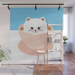 Cute Kawai cat in pink cup, coffee art Wall Mural