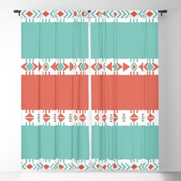 South Western Print in Modern Aqua Turquoise and Coral Geometric Diamonds Arrows Triangles Circles Blackout Curtain