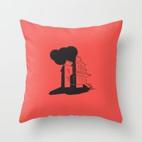 psycho Throw Pillows featuring Psycho by Michael Deeg