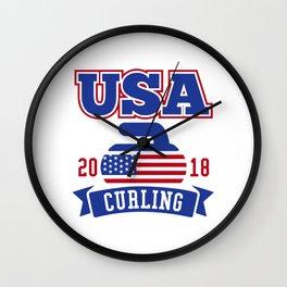 USA Curling 2018 Wall Clock