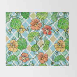 Climbing Nasturtiums on Blue and White Throw Blanket