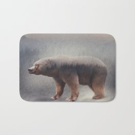 Double exposure of a wild brown bear and a pine forest Bath Mat