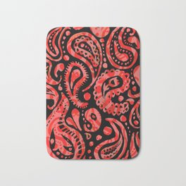 Handpainted Paisley Pattern Red Peach and Black Color Bath Mat