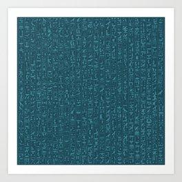 Hieroglyphics Moonstone BLUE / Ancient Egyptian hieroglyphics pattern Art Print