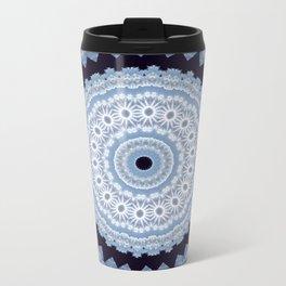 Lovely Healing Mandala  in Brilliant Colors: Black Blue, Gray and White Metal Travel Mug
