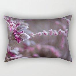 Pink Flowers Frostbit Snow (Color) Rectangular Pillow