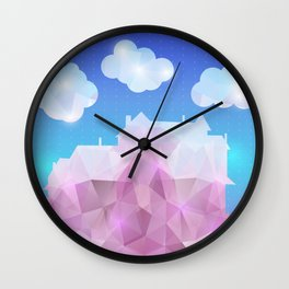 Abstract polygonal house with clouds and background Wall Clock