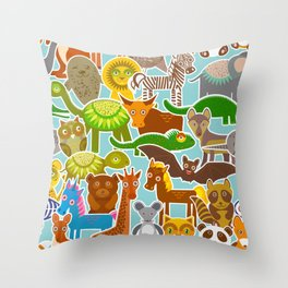collection Funny cartoon Animals seamless pattern on blue background. Vector Throw Pillow