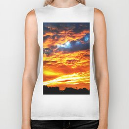 Fantastic Sunset, blue and orange sky Biker Tank