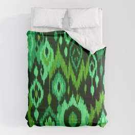 MODERN IKAT TRIBAL PATTERN | green Comforters