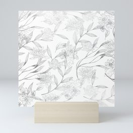 Elegant faux silver modern trendy floral Mini Art Print