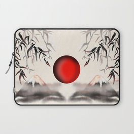 Sumi-e Mount Fuji with a red rising sun Laptop Sleeve