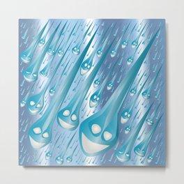 Happy Rain Drops Metal Print