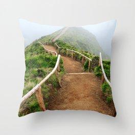 Empty walking trail Throw Pillow