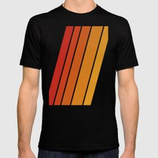 Retro 70s Stripes LARGE Black Mens Fitted Tee