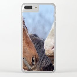 Horses Enjoying A Sunny Winter Day Clear iPhone Case