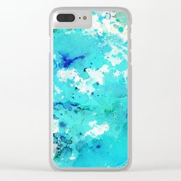 Abstract modern teal blue watercolor paint pattern Clear iPhone Case
