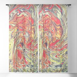 Abstract Painting X 6 Sheer Curtain