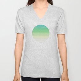 Shades of Ocean Water - Abstract Geometric Line Gradient Pattern between See Green and White Unisex V-Neck