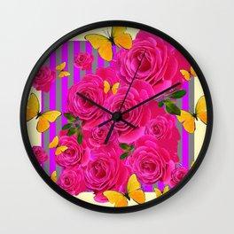 PINK GARDEN ROSES & YELLOW BUTTERFLIES MODERN ART FROM SOCIETY6   BY SHARLESART. Wall Clock