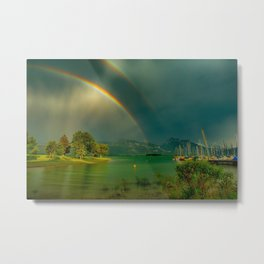 Rainbow at Tedesco Lake, Forgensee Bavaria, Germany color photograph / photography / photographs Metal Print