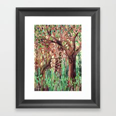 Lost in the Forest - watercolor painting collage Framed Art Print