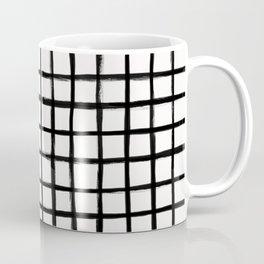 Strokes Grid - Black on Off White Coffee Mug