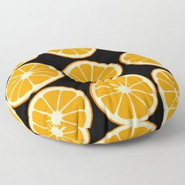 Oranges on Black, Fruit Pattern Floor Pillow