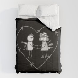 Crazy love - No text - Black background Comforters